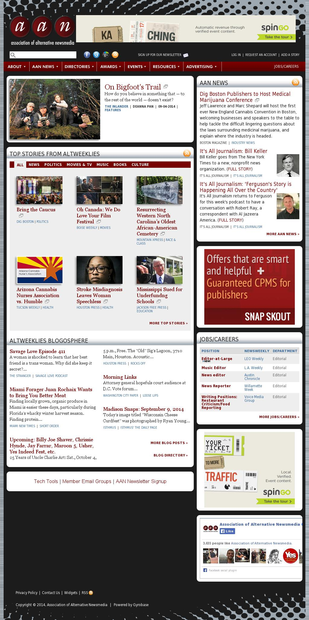 Association of Alternative Newsmedia at Tuesday Sept. 9, 2014, 2 p.m. UTC