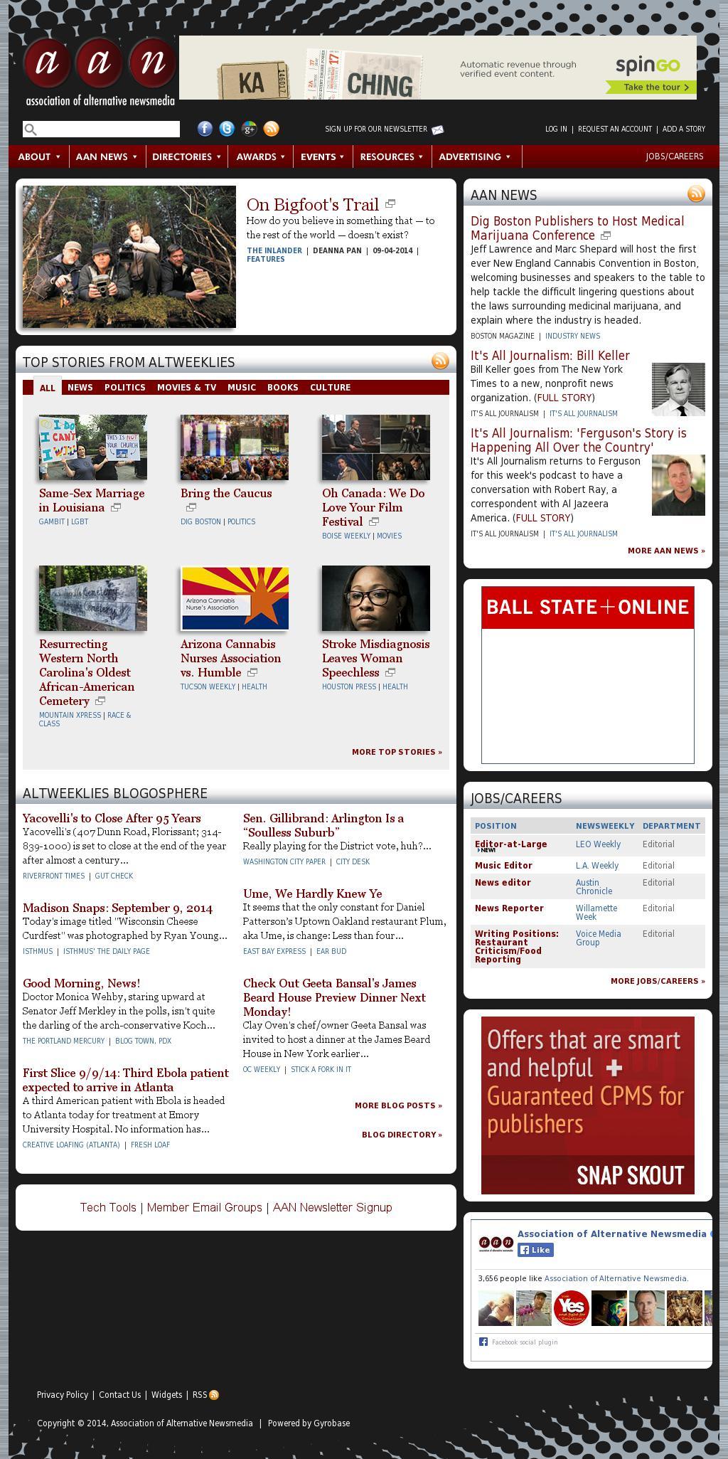 Association of Alternative Newsmedia at Tuesday Sept. 9, 2014, 6 p.m. UTC