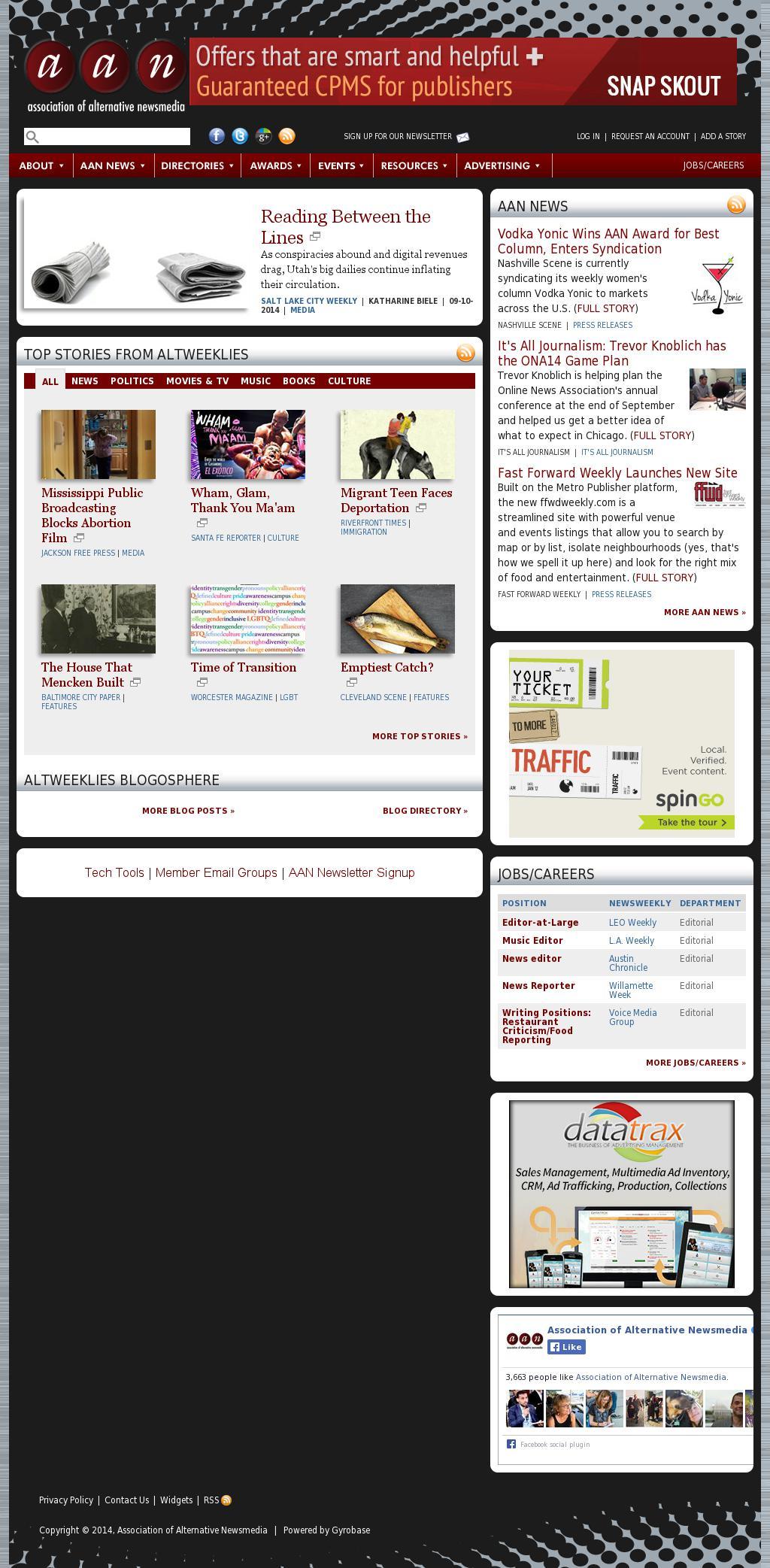 Association of Alternative Newsmedia at Saturday Sept. 13, 2014, 5 a.m. UTC