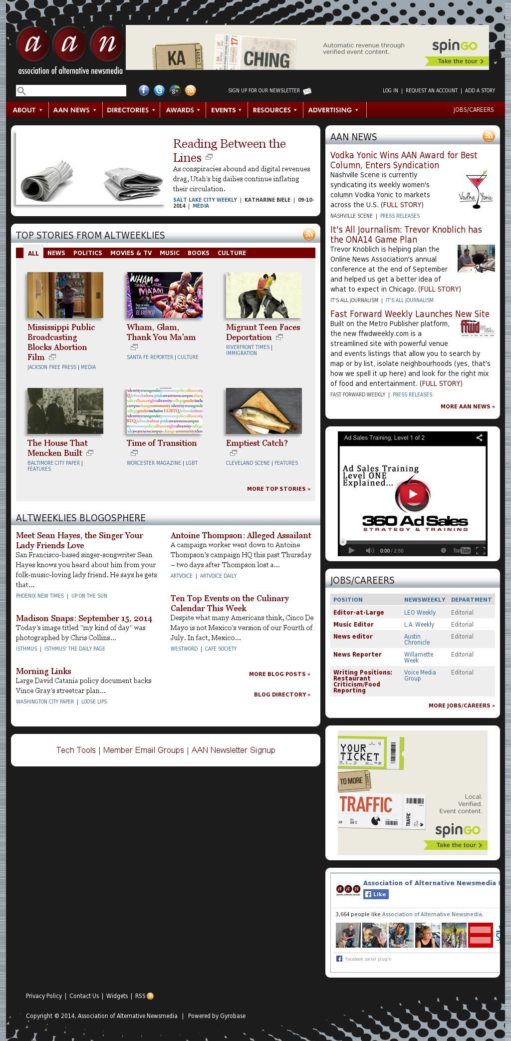 Association of Alternative Newsmedia at Monday Sept. 15, 2014, 4 p.m. UTC