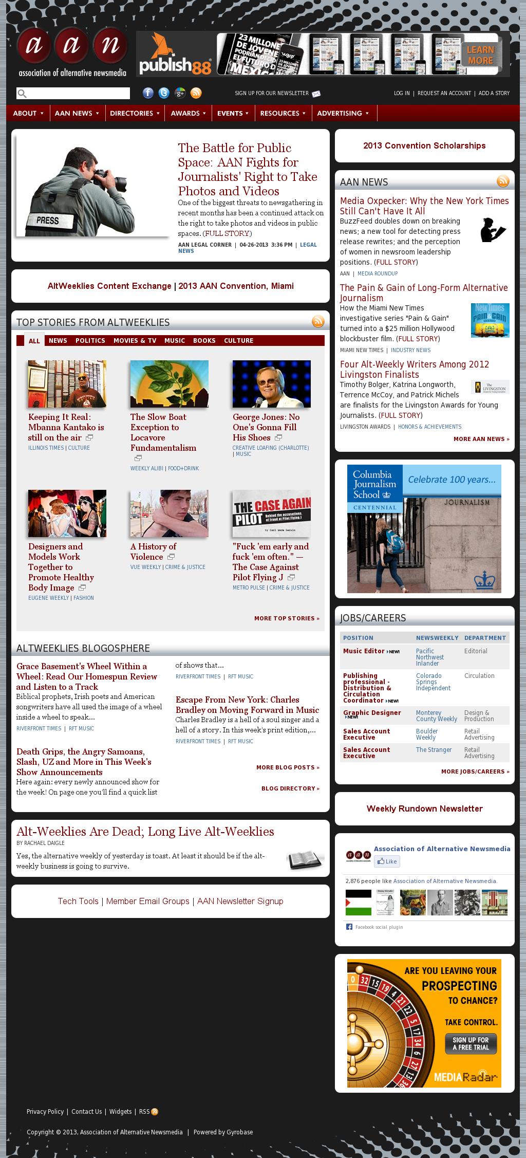 Association of Alternative Newsmedia at Wednesday May 1, 2013, noon UTC