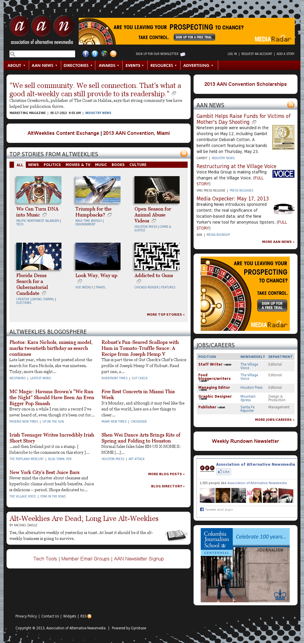 Association of Alternative Newsmedia at Tuesday May 21, 2013, midnight UTC