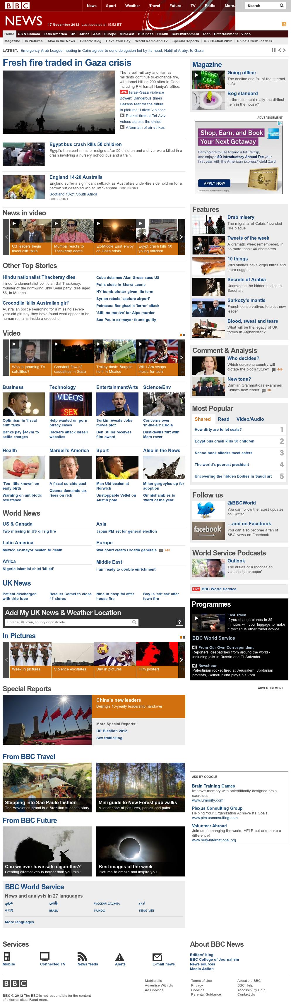 BBC at Saturday Nov. 17, 2012, 9:01 p.m. UTC
