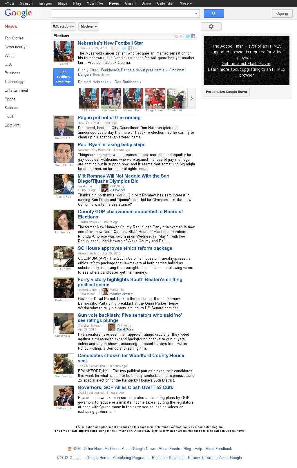 Google News: Elections at Thursday May 2, 2013, 9:08 a.m. UTC