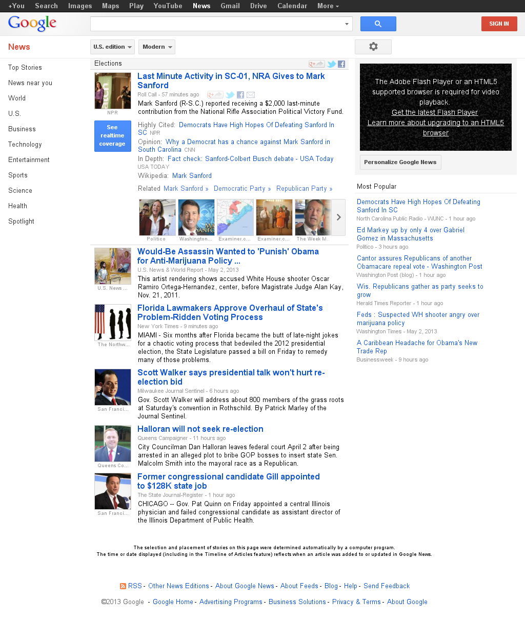 Google News: Elections at Saturday May 4, 2013, 1:10 a.m. UTC