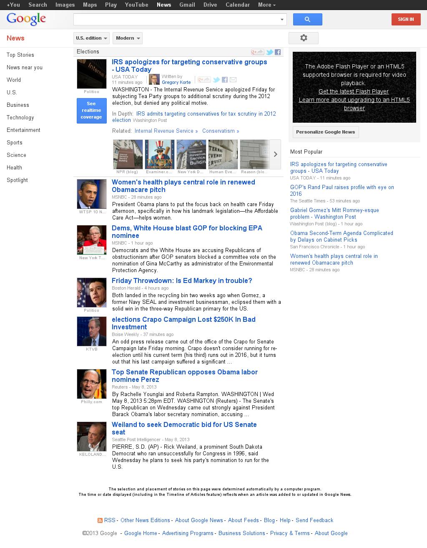 Google News: Elections at Friday May 10, 2013, 5:09 p.m. UTC