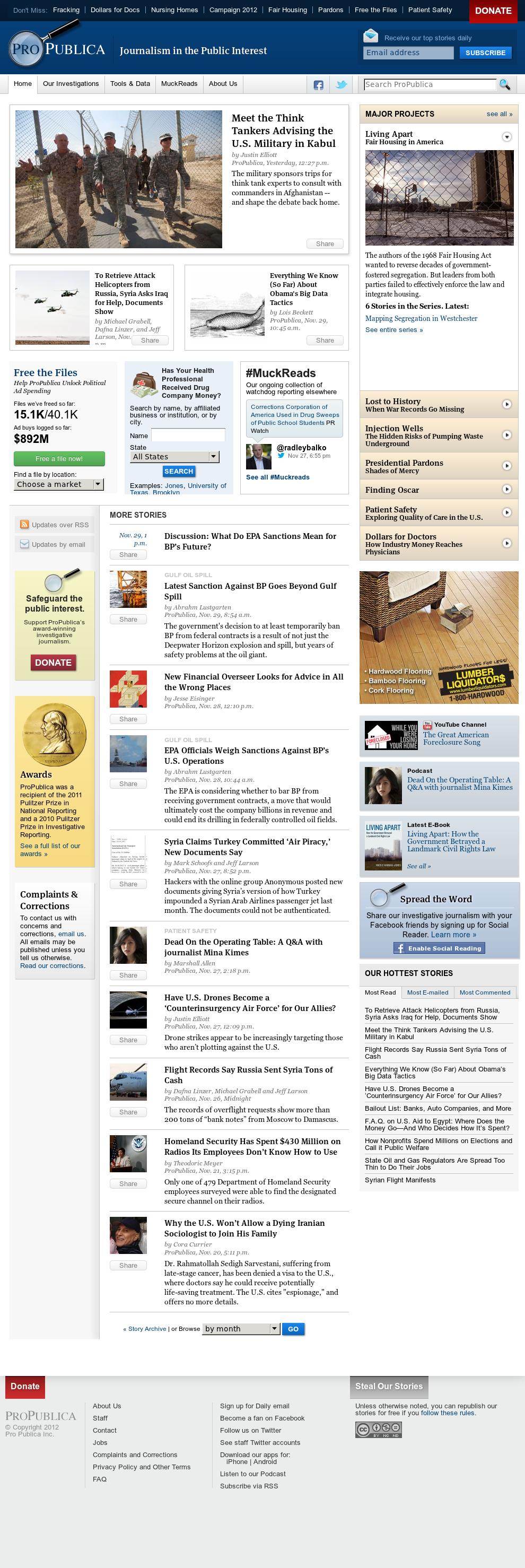 ProPublica at Saturday Dec. 1, 2012, 4:26 p.m. UTC