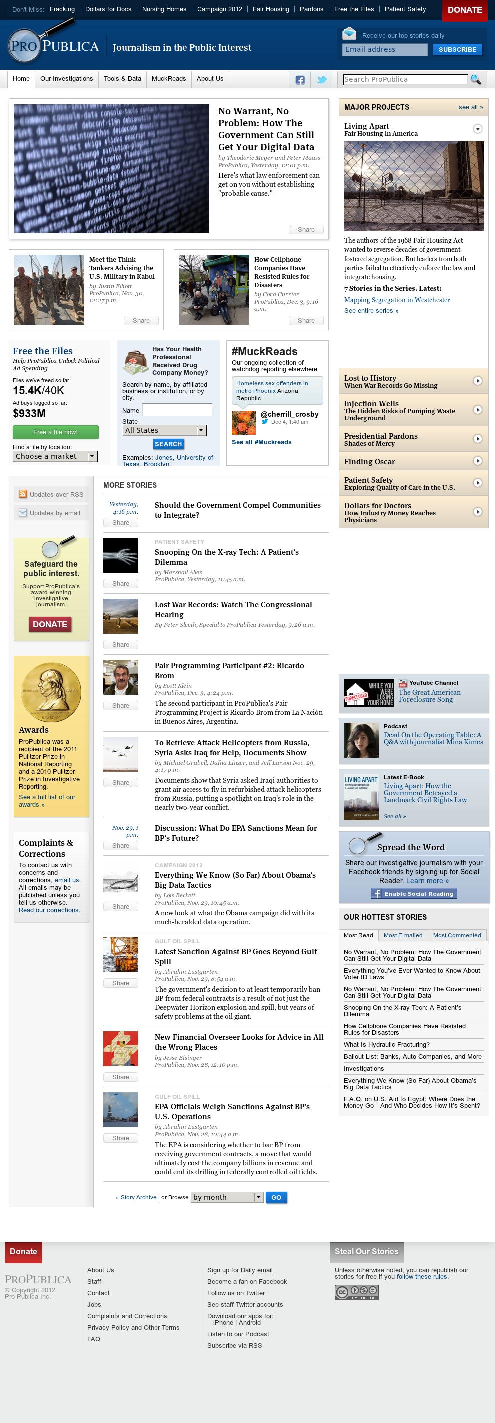 ProPublica at Wednesday Dec. 5, 2012, 7:27 a.m. UTC