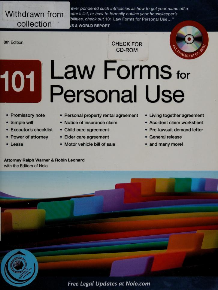 101 law forms for personal use by Ralph E. Warner