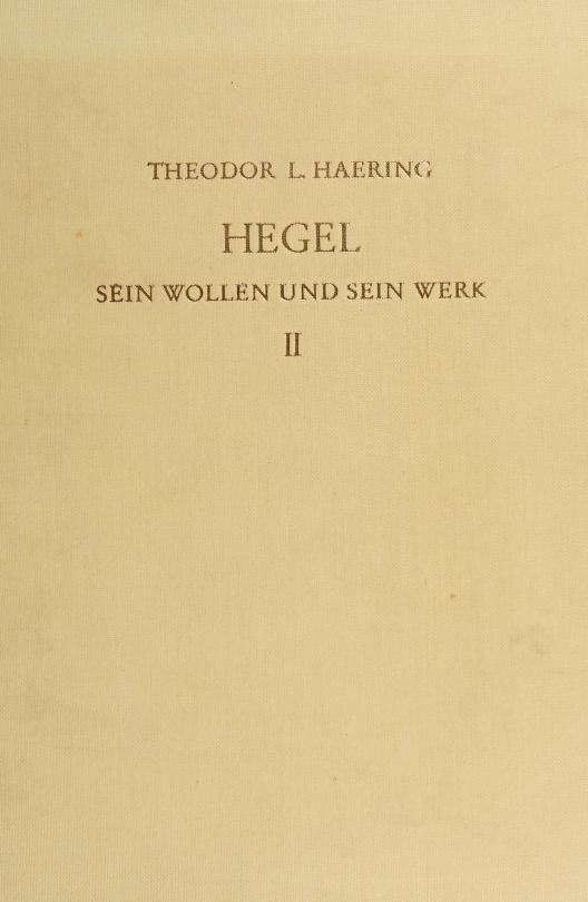 Hegel by Theodore Lorenz Haering