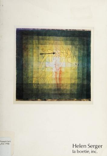Paintings, drawings, watercolors, and prints by 20th century masters by Helen Serger, la boetie, inc